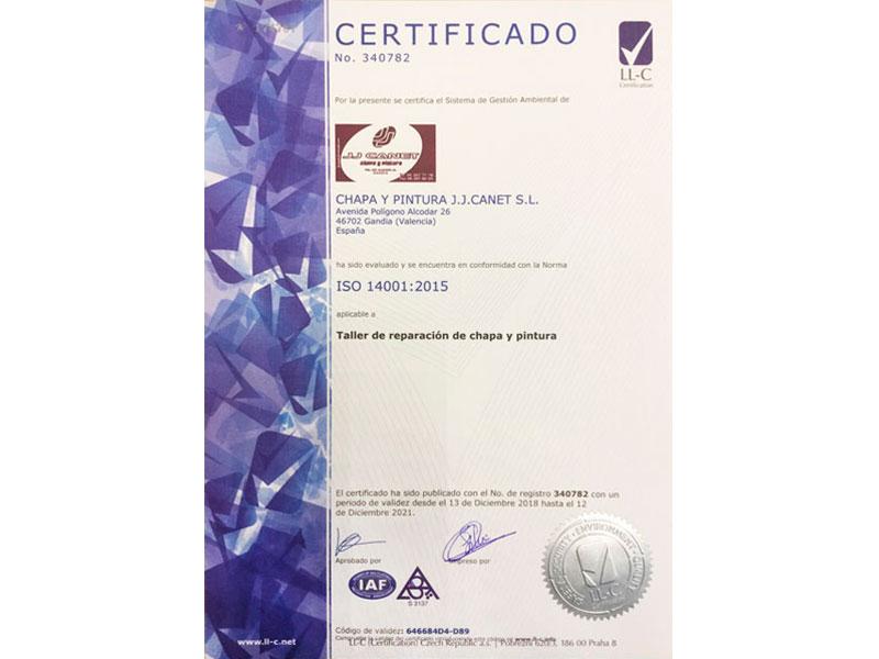 Certificado ISO 14001:2015 - JJ Canet