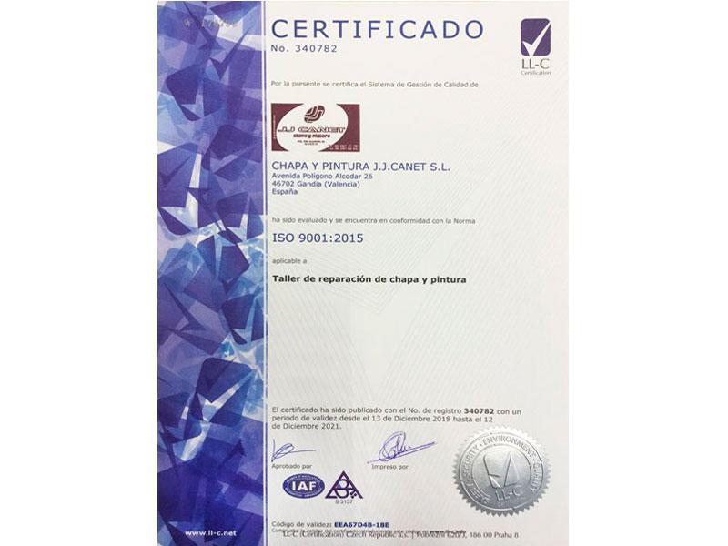 Certificado ISO 9001:2015 - JJ Canet
